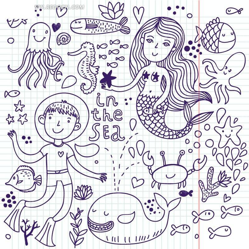 手绘蓝色网格和鱼类海马和男孩以及美人鱼底纹