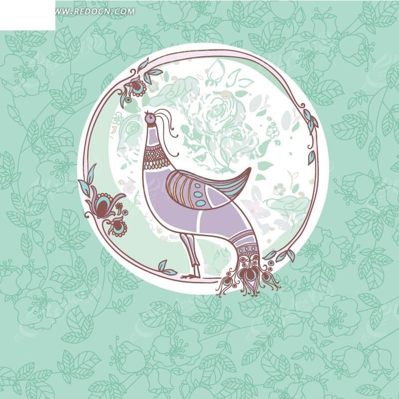 蓝色枝条背景上的手绘边框和孔雀