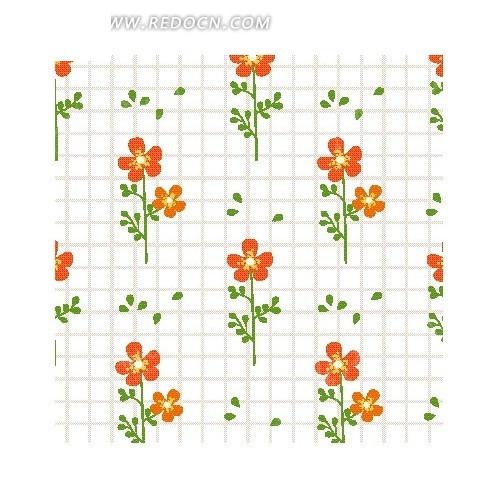 网格前的手绘枝条和红色花朵底纹EPS素材免费下载 编号2050491 红动网