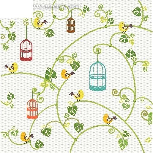 免费素材 矢量素材 花纹边框 底纹背景 > 手绘绿色枝条绿叶鸟笼和小鸟