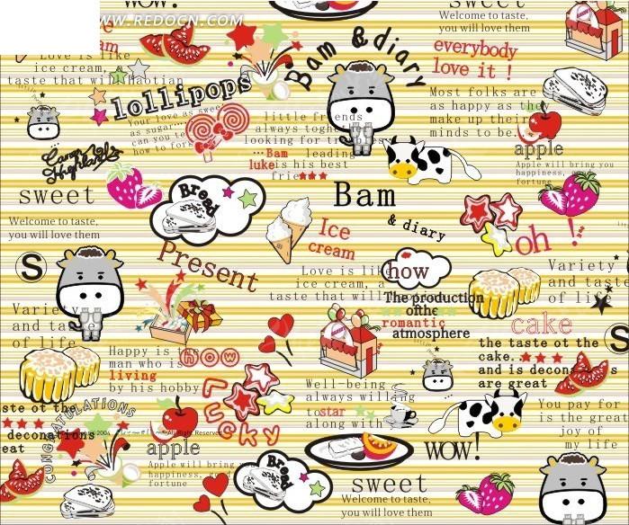 底纹—横条纹前的英文和手绘五角星和冰淇淋以及牛和草莓图片