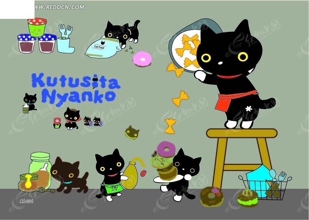 卡通动漫 派送蝴蝶结饼干的黑猫妈妈和小黑猫