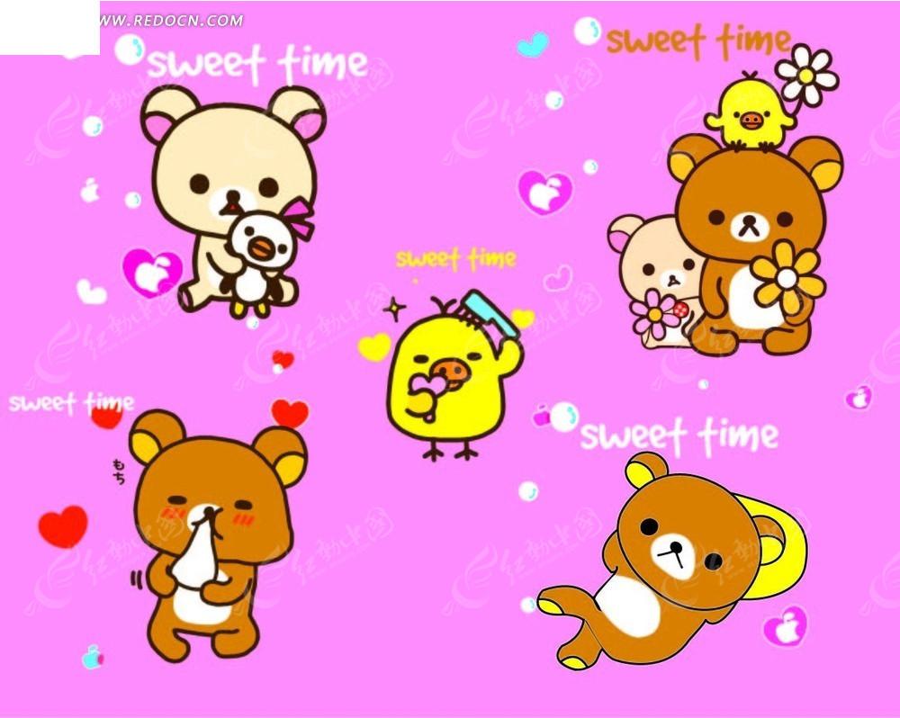 粉色背景上的手绘英文心形和小熊以及小鸟