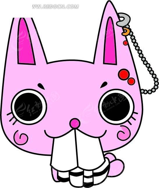 卡通动漫 打着耳环咬着白布的长耳朵小猫