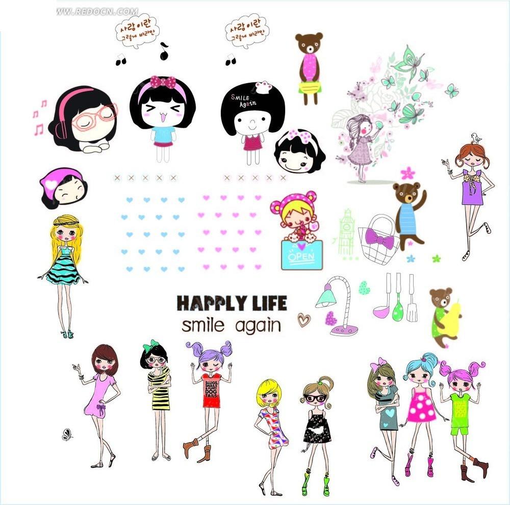 卡通女孩和蝴蝶图案