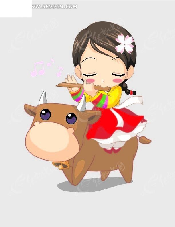 卡通动物插画-吹笛子骑牛的小女孩矢量图