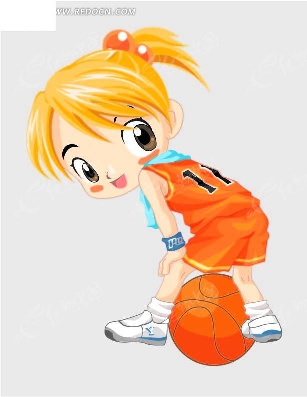卡通画—打篮球的黄发女孩