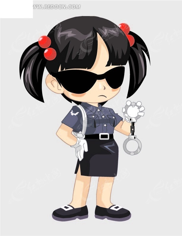 免费素材 矢量素材 矢量人物 卡通形象 卡通画—戴墨镜的女警  请您