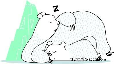卡通动物插画-睡着的小狗熊和大狗熊