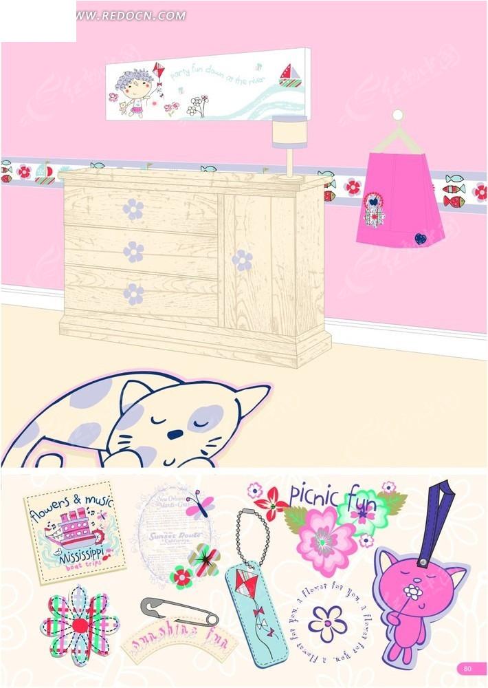 手绘室内的柜子和猫咪