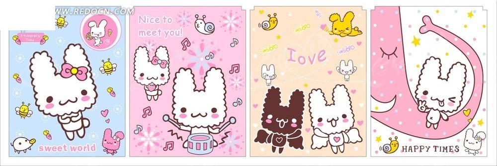 卡通动物 做在大象鼻子上的兔子和天使兔