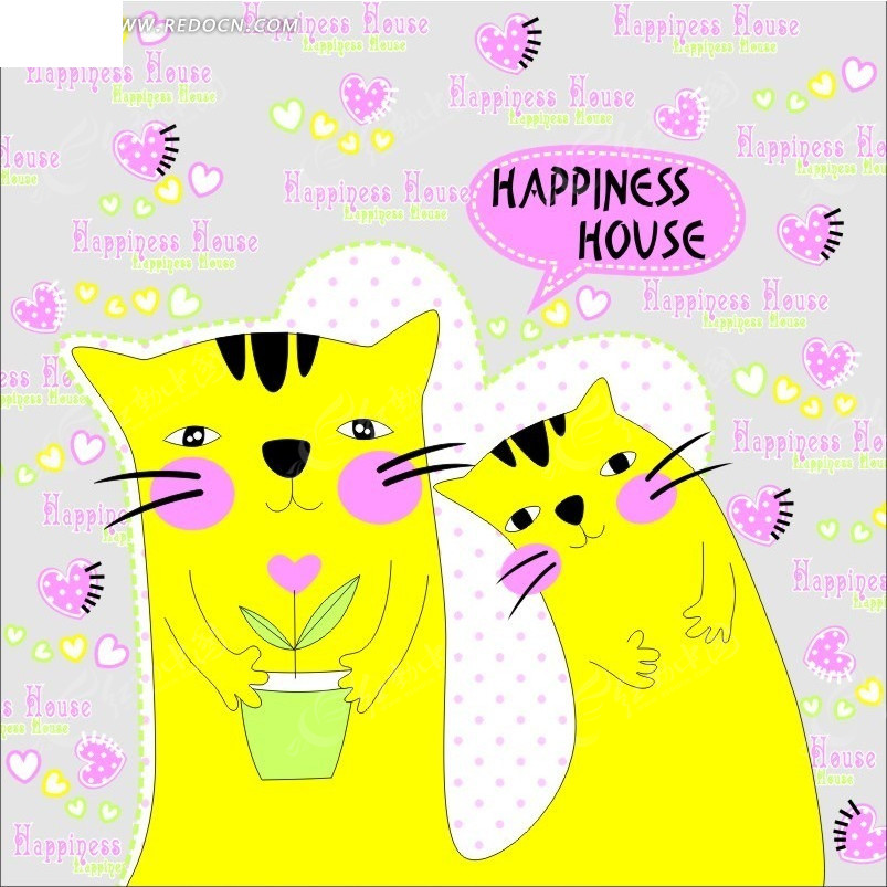 灰色背景上的手绘心形和黄色猫咪图片