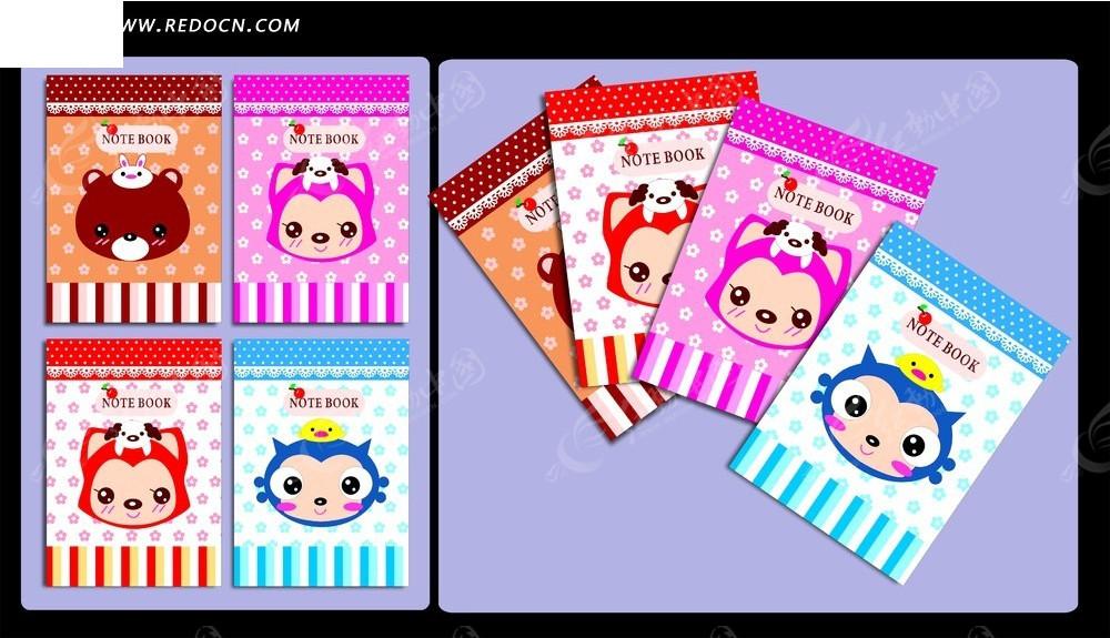 彩色卡通动物图案卡片素材