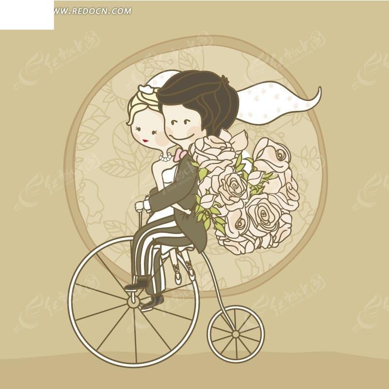 手绘拿着花束骑自行车的新郎新娘