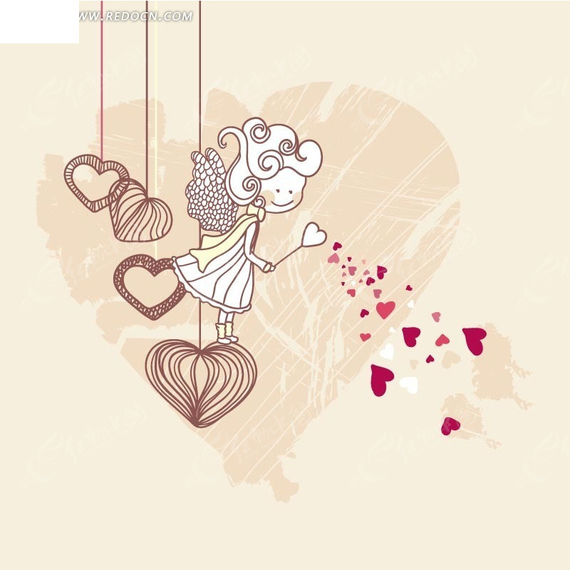 手绘 直线 心形 天使女孩 粉色背景  印花图案 矢量素材