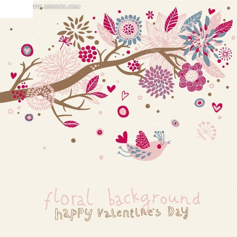 手绘开花的美丽树木和粉色小鸟