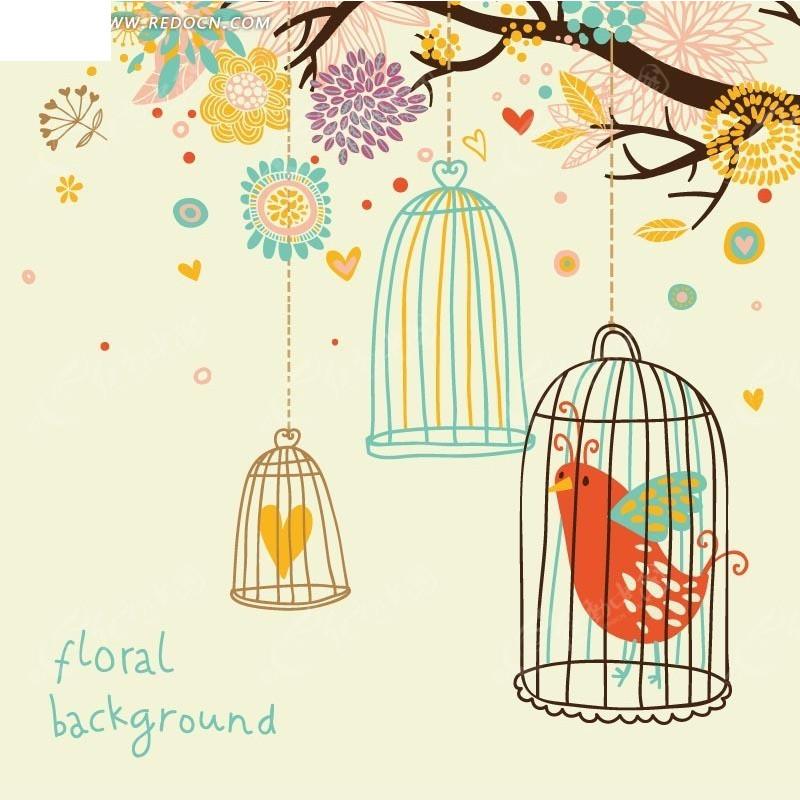 手绘开花的树枝和漂亮的鸟笼矢量图 印花图案