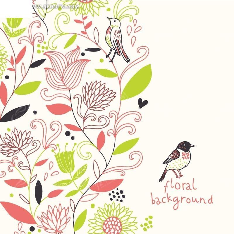 矢量素材 花纹边框 印花图案 手绘美丽的开花枝条和英文上的小鸟  请