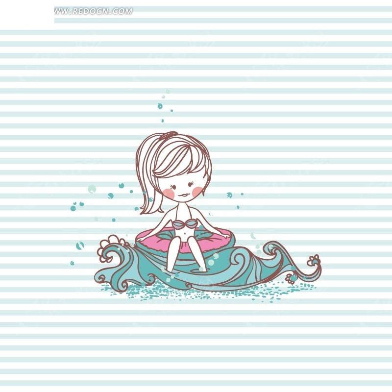手绘海浪上的泳装美女