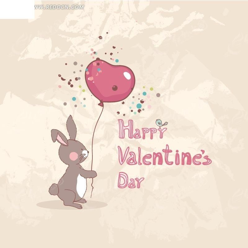 手绘红色英文边拿着气球的兔子