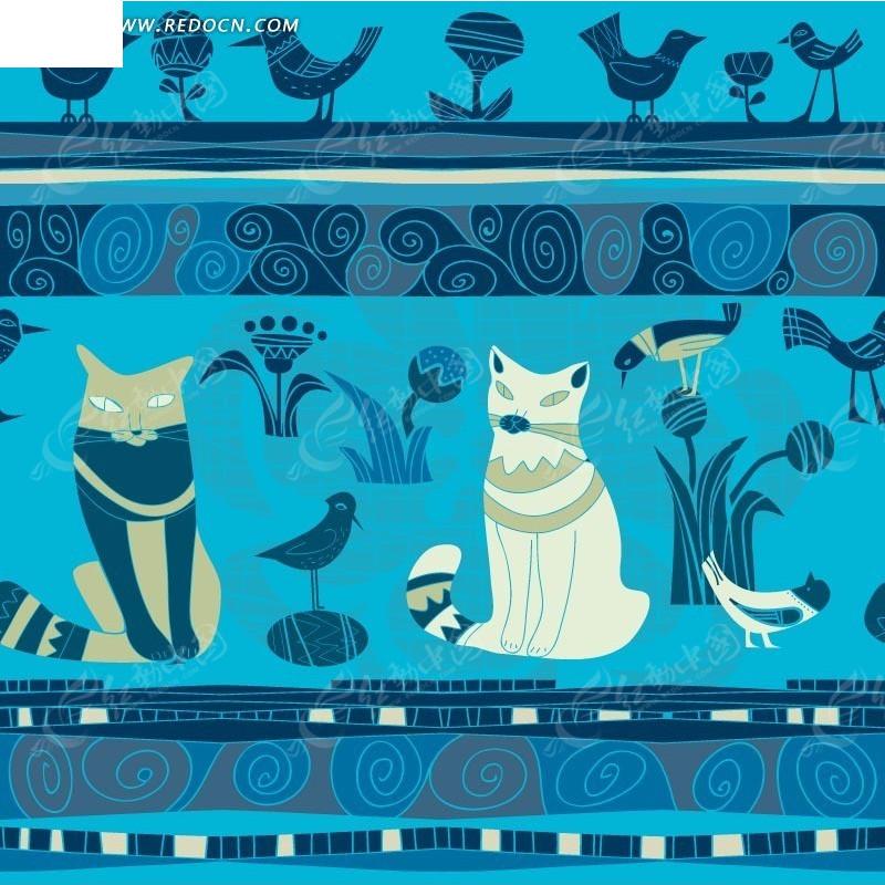 蓝色背景 手绘蓝色小鸟 花朵 猫咪 螺旋花纹  印花图案 矢量素材