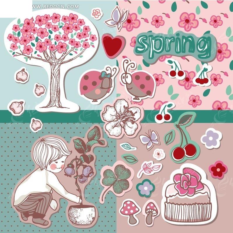 蓝色粉色格子背景上的手绘开花树木和蝴蝶以及栽花的男孩