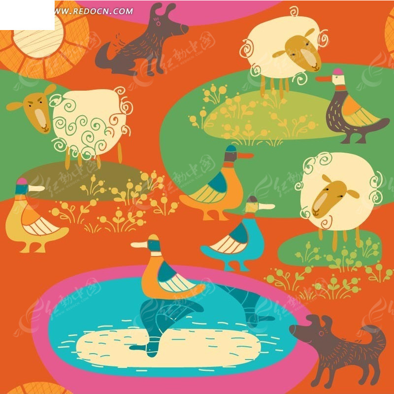 橙色背景上的手绘草地鸭子绵羊狗和植物