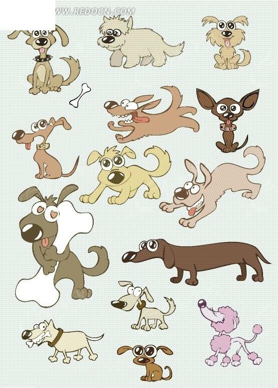 手绘蓝色背景可爱小狗坐着的狗奔跑的狗骨头动物卡通.