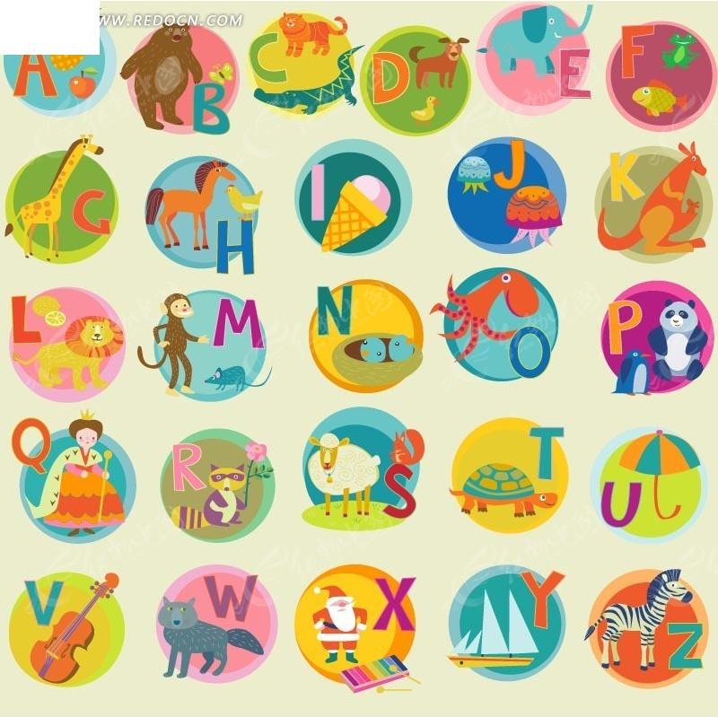 圆圈里的英文和卡通动物以及水果