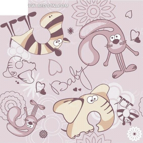 紫色背景上的卡通动物和心形以及花朵