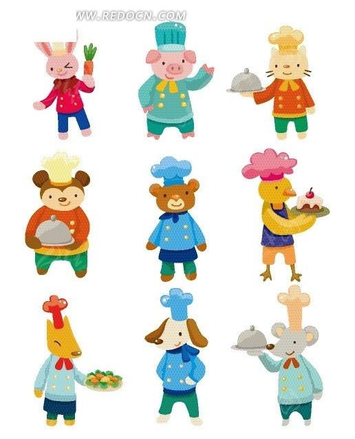 卡通动物 各种厨师动物