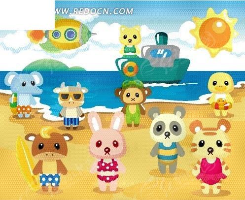 卡通动物 大海上的轮船和海滩上的动物