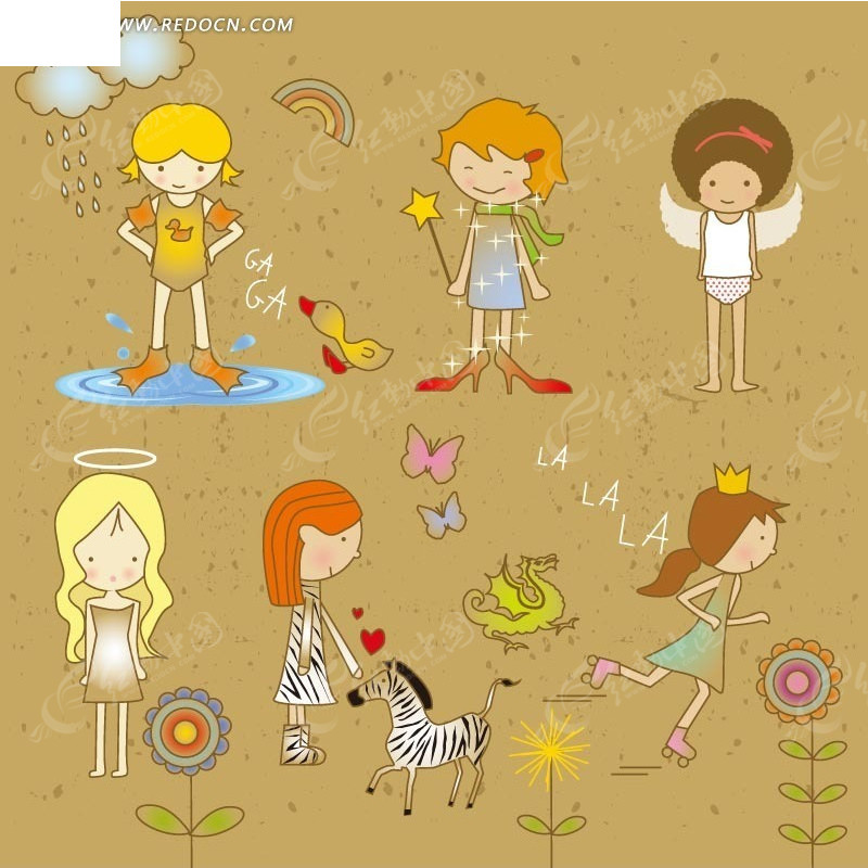 动漫卡通 六个善良可爱的小女孩公主