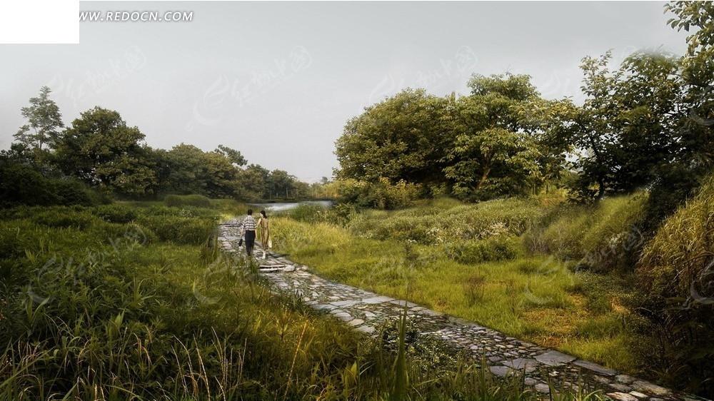 效果图 绿树草地和弯曲的石板路psd素材
