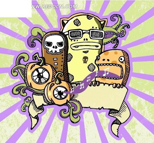 卡通动物 戴眼镜的怪兽和骷髅头