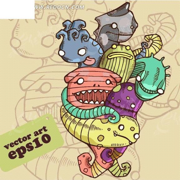 插画—黄色背景上抱在一起的各色怪兽-卡通人物矢量
