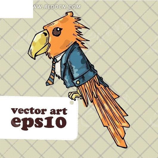 卡通动物 穿着西装系着领带的小鸟矢量图_卡通形象