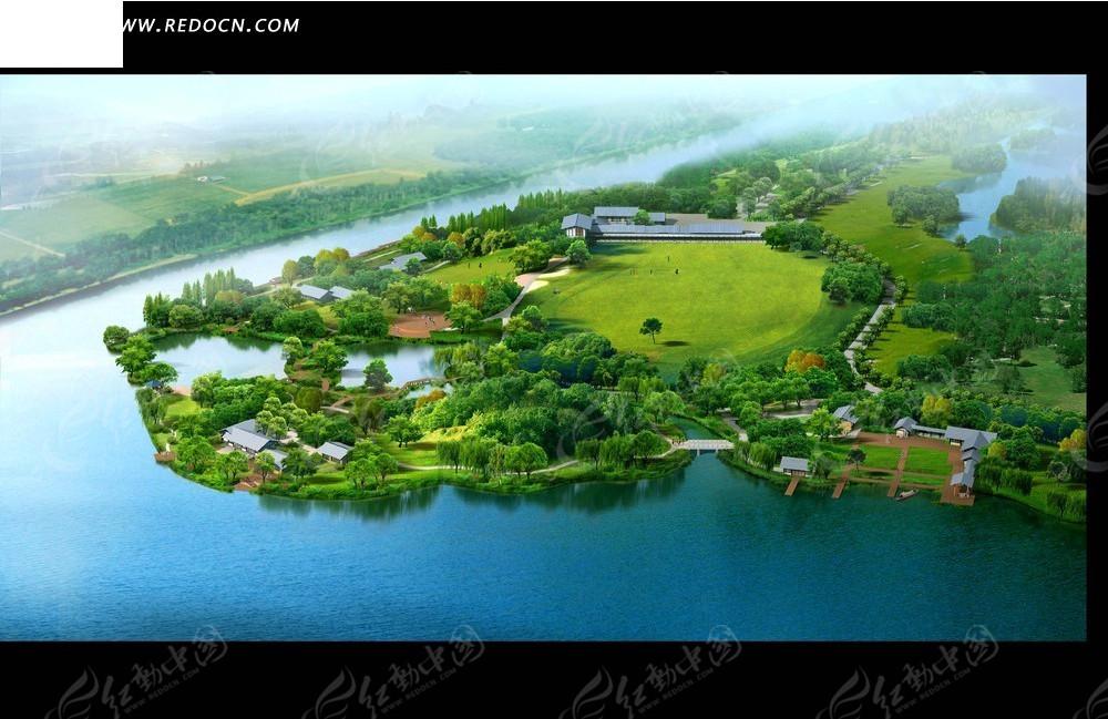 江边的草坪绿树俯瞰图psd素材高清图片