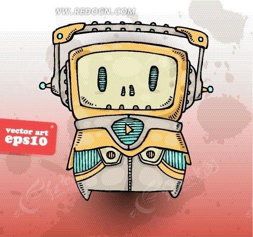 人物 电视头的机器人矢量图 卡通形象