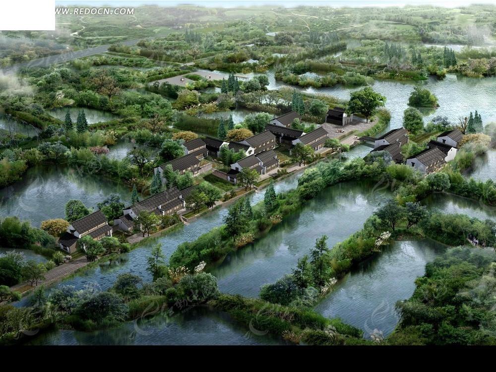 城市效果图 湖泊和绿树以及城市俯瞰图psd素材免费下载 编号2053253