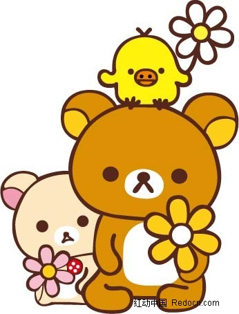 免费素材 矢量素材 矢量人物 卡通形象 卡通动物插画-拿花朵的小熊和