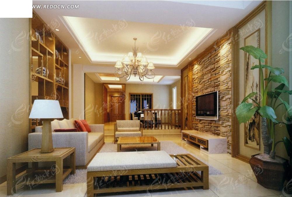 暖色调客厅效果图