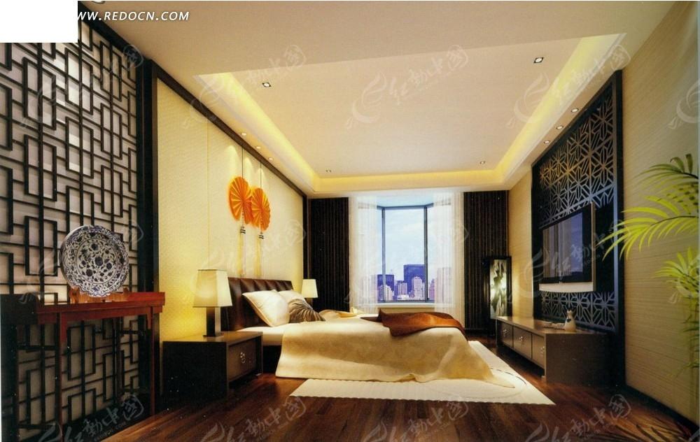 中式古典      大床 床头柜 台灯 中国结 电视机 电视柜 室内设计 3d图片