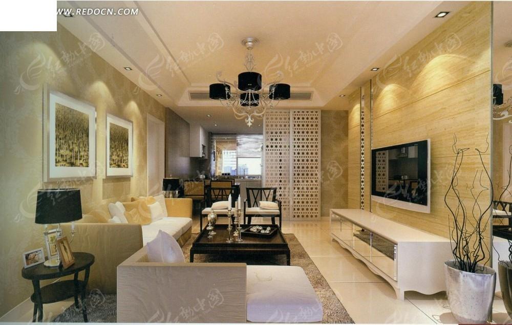欧式雅致客厅效果图_室内设计