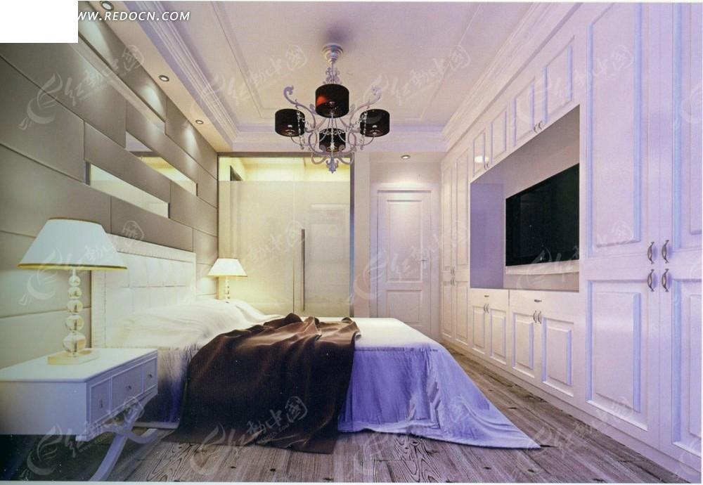 电视柜水晶吊灯室内设计3d效果图室内装修装潢设计; 卧室放床效果图图
