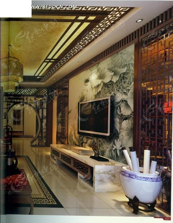 中式古典荷叶壁纸客厅效果图图片