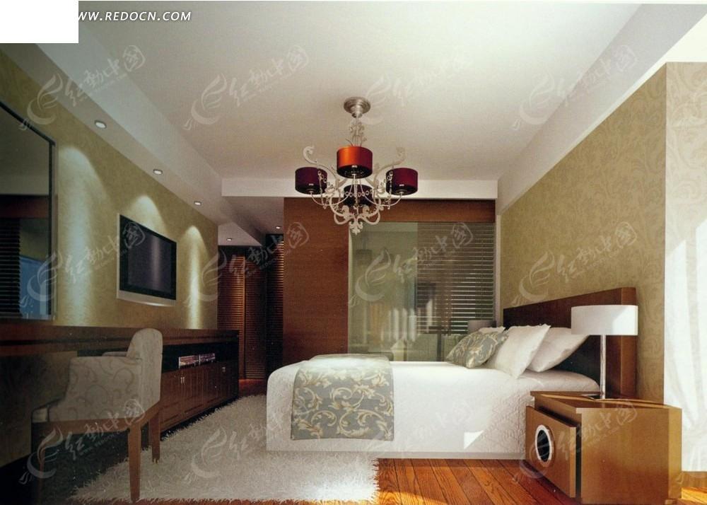 红色水晶吊灯卧室效果图
