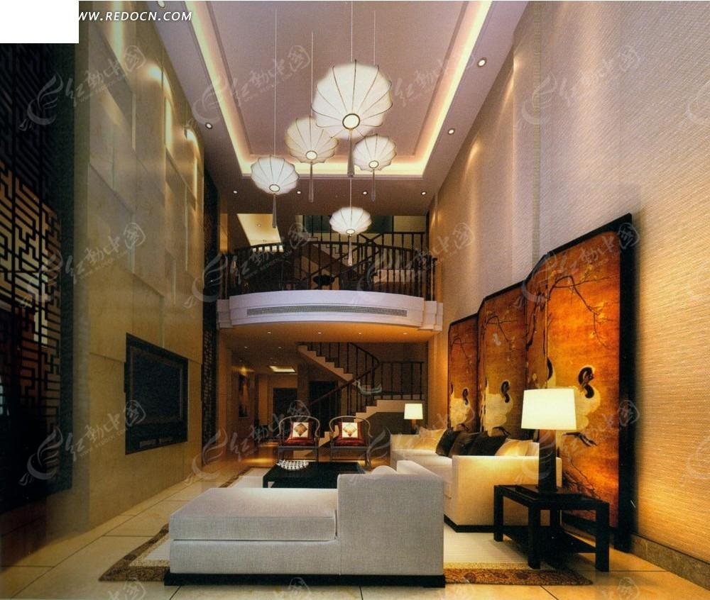 免费素材 3d素材 3d模型 室内设计 欧式大气跃层式小公寓客厅效果图图片
