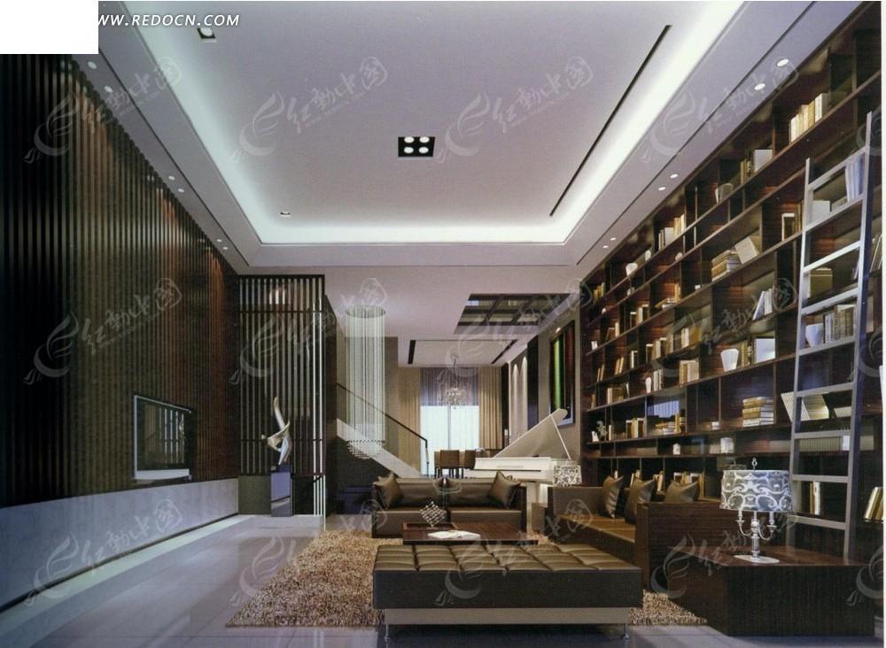 跃层式现代书香所气息客厅效果图图片