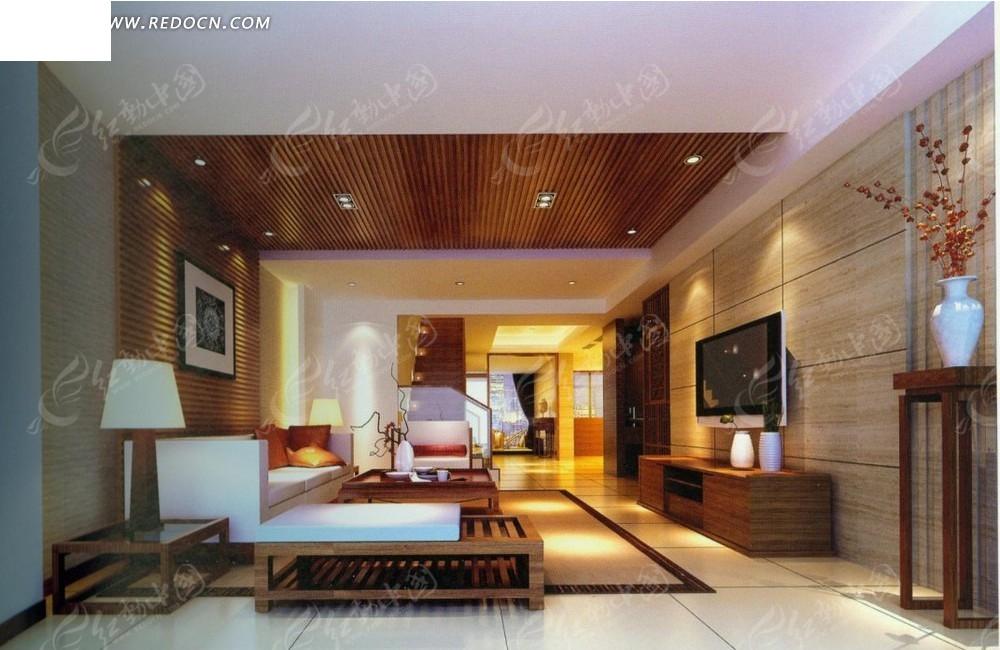 现代木质家具客厅效果图